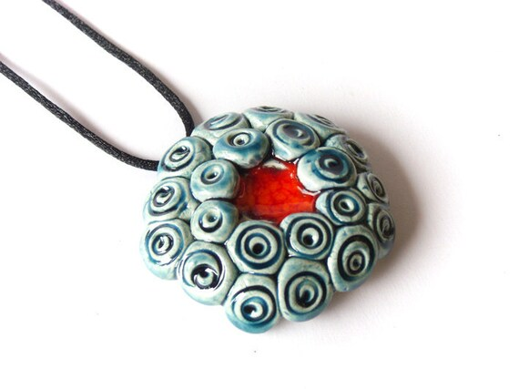 Red and blue pendant, clay jewelry, spring summer fashion trends