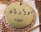 Coolmath Math Equations Copper and Brass Circle Formula Necklace with Copper Ball Chain