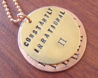 Constantly Irrational Pi Necklace in Brass and Copper