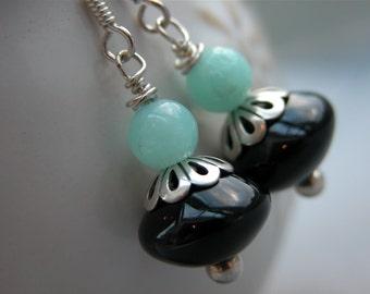Black Onyx and Aventurine earrings