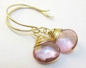 Rachael handmade earrings - pink topaz & yellow gold fill by lotusstone on etsy