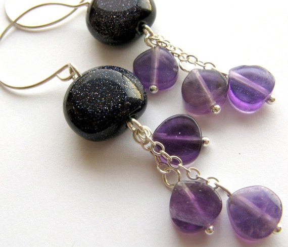 Michelle handmade earrings in blue goldstone, amethyst and sterling silver by lotusstone on etsy