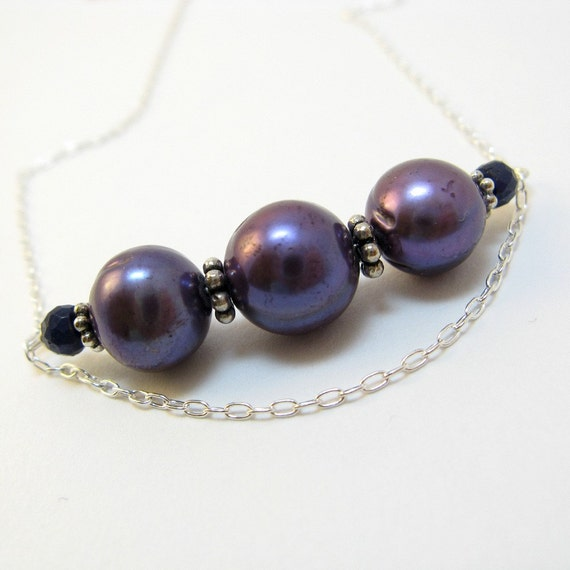 Eva handmade necklace - sapphire, pearl, sterling silver by lotusstone on etsy