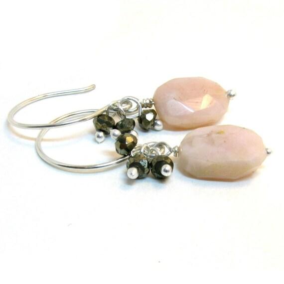 SALE - Pink opal earrings with pyrite - sterling silver handmade earrings by lotusstone on etsy