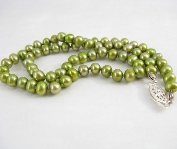 Bella - handmade pearl necklace, silk and sterling silver, in lime, by lotusstone on etsy
