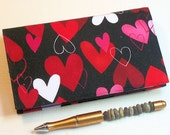 LAST ONE in this Fabric Checkbook Cover for Duplicate Checks with Pen Holder - Red Hearts on Black Cotton Fabric, Check Book, Cheque Book