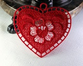 Valentines Day Decoration or Ornament -  Lace Heart Machine Embroidered