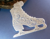 MOVED! to my new shop - Ice Skate Christmas Tree Ornament - White Machine Embroidered Lace - Made to Order