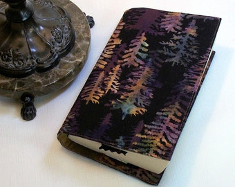 Pine Trees Paperback Book Cover on Brown Batik, Mass Market Size, Last one in this fabric