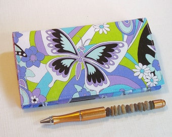 Butterflies Checkbook Cover for Duplicate Checks with Pen Holder