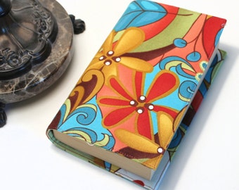 Modern Paperback Book Cover - Spirit Fabric, Mass Market or Tall or Trade Size, Turquoise, Gold, Green, Orange, Boho Chic Cover