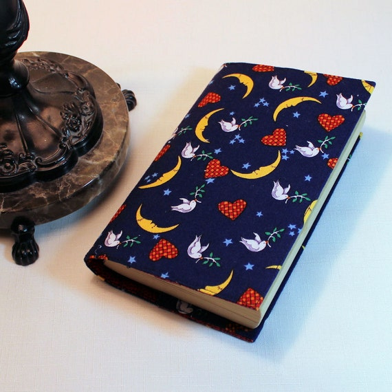 SALE - Fabric Paperback Book Cover - Hearts, Doves and Moons - Mass Market Size