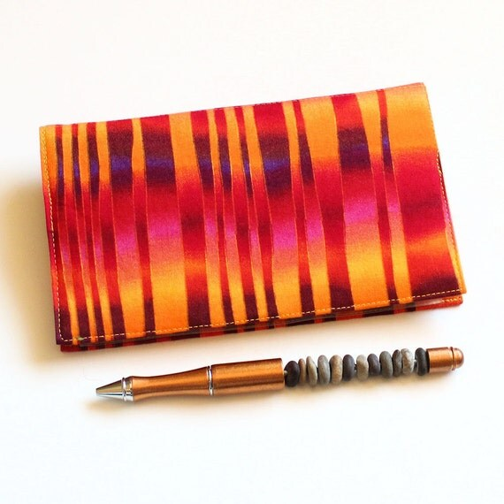 Duplicate Checkbook Cover with Pen Holder - Psychedelic Orange Cheque Book Cover, Optional Scotchgard Protection