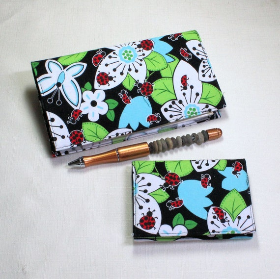 Checkbook Cover for Duplicates with Pen Holder, and Card Case - 2 piece set on Cotton Lady Bug Fabric