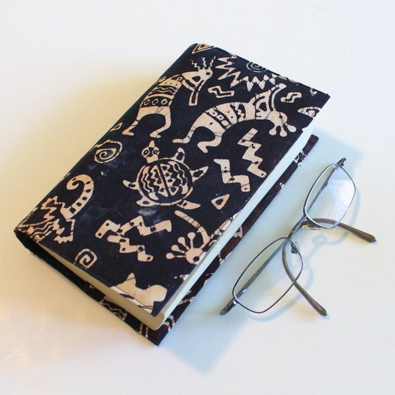 Last One! Batik Cotton Fabric Paperback Book Cover - Indian Fetishes and Kokopelli, Tan on Dark Brown