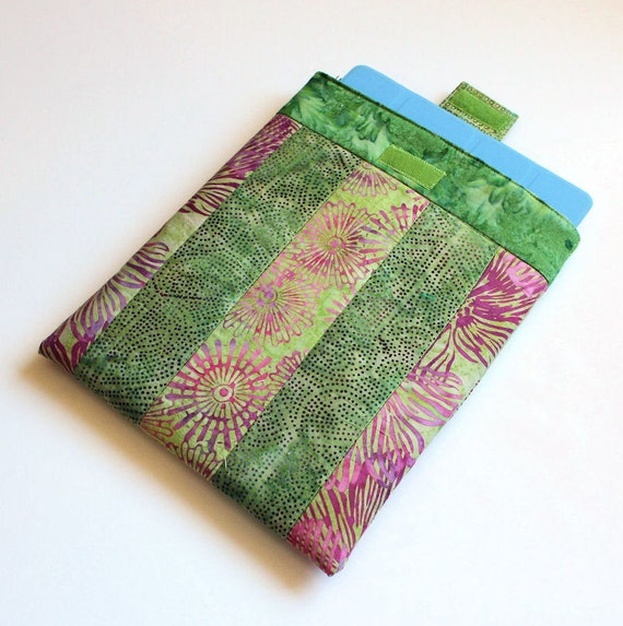 iPad Sleeve for original or 2 or 3 in Pink and Green Batiks