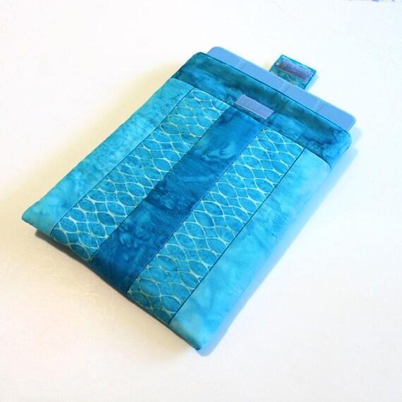 iPad Padded Sleeve in Turquoise Blue Batiks