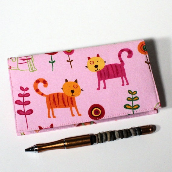 Cute Cats Checkbook Cover for Duplicate Checks with Pen Holder on Pink Fabric