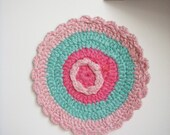 Perfectly Pink and Aqua Crocheted Pot Holder