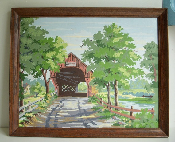 Vintage Paint by Number Covered Bridge Painting