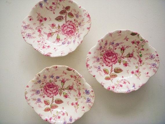 Reserved for sarah set of 3 rose chintz by gatheringvintage - Johnson brothers vajilla ...