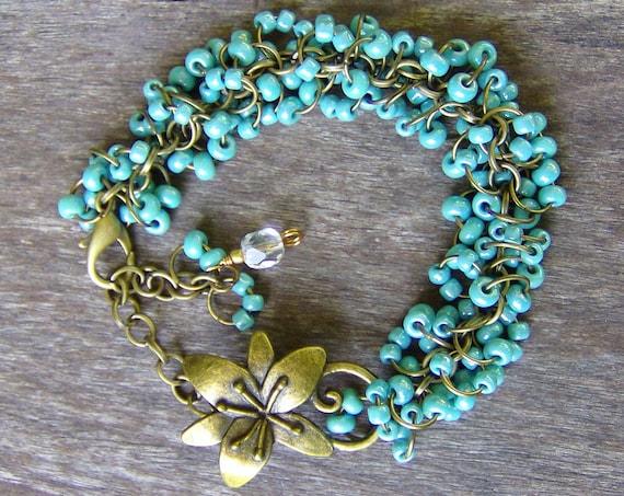 Bracelet, Turquoise, Beaded, Bohemian, Wedding jewelry, Bridal