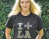 I Love Louisiana Fleur de Lis T-Shirt - Saints Colors