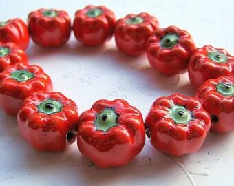 LOOSE Porcelain Beads - Painted Orange and Green Pumpkins (2 beads) - Por014