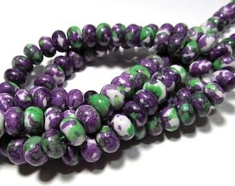 LOOSE Gemstone Beads - Jade Beads - 5x8mm Rondelles - Purple, Green, White (10 beads) - gem661