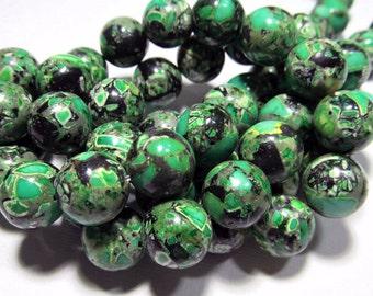 LOOSE Gemstone Beads - Mosaic Magnesite Beads - 12mm Rounds - Green, Black, Grey (4 beads) - Gem666