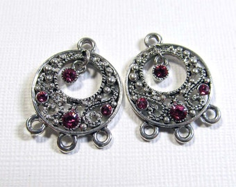 Chandelier Drops - Silver Plated Pewter Small Go-Go with Rose Swarovski Crystals (2 drops) - ear087