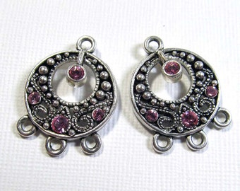 Chandelier Drops - Silver Plated Pewter Small Go-Go with Light Rose Swarovski Crystals (2 drops) - ear088