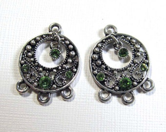 Metal Chandelier Drops - Silver Plated Pewter Small Go-Go with Peridot Swarovski Crystals (2 drops) - ear089