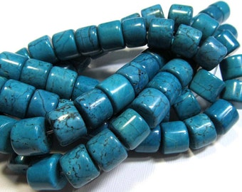 LOOSE Gemstone Beads - Magnesite Beads - large 10x12mm drums - turquoise blue with darker matrix (4 beads) - gem708