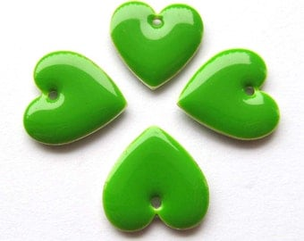 Metal & Epoxy Heart Drops - Silver Plated Lime (4 drops) - spa471