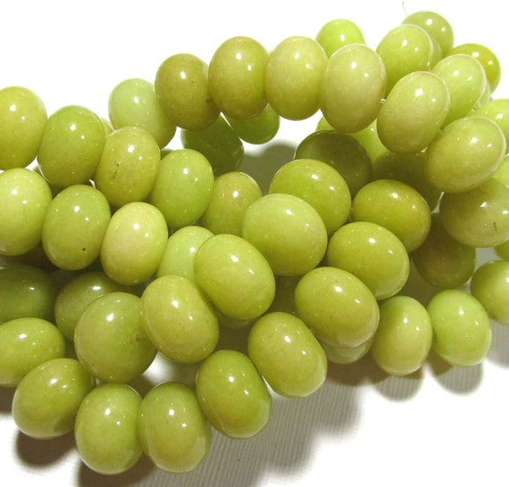 LOOSE BEADS - Jade Beads - 10x14mm Rondelles - Chartreuse (6beads) - gem568