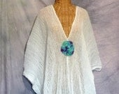 Watercolor Mandala Caftan Goddess Beach Doily Spa Cover Up Moroccan Kaftan White One Size Cotton Crochet Plus Boho