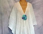 Watercolor Mandala Caftan Goddess Beach Doily Spa Cover Up Kaftan White One Size Cotton Crochet Plus Boho