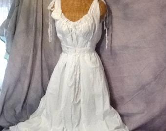 White Wedding Dress Fairy Gown Cottage Corset Custom Birdcage Rose Hem Mid-calf Length Womens Tattered