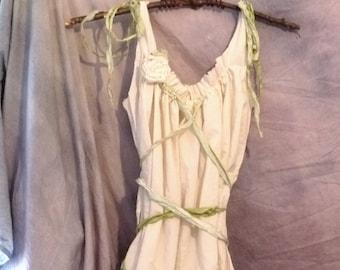 Goddess Greenery Gown Maxi Womens Wedding Dress Corset Silk Ribbons Birdcage Hem Custom Eco Tattered