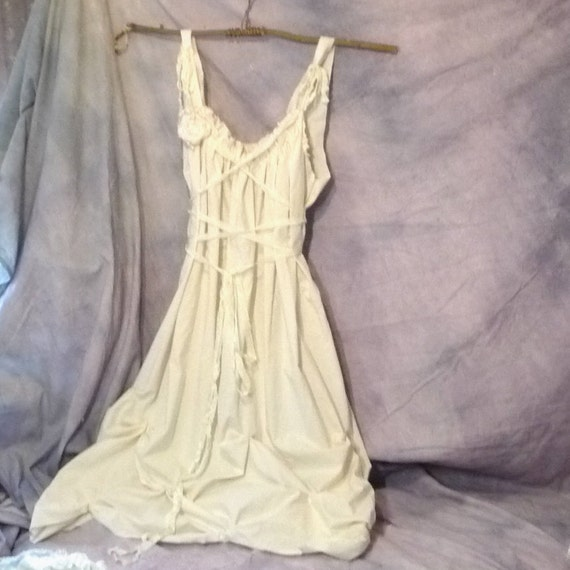 SAVE 30 Bridal Gown Size XL Beach Bride Dress Longer Tea Length Corset Bodice Rouched Tiered Hem Tattered Womens Plus