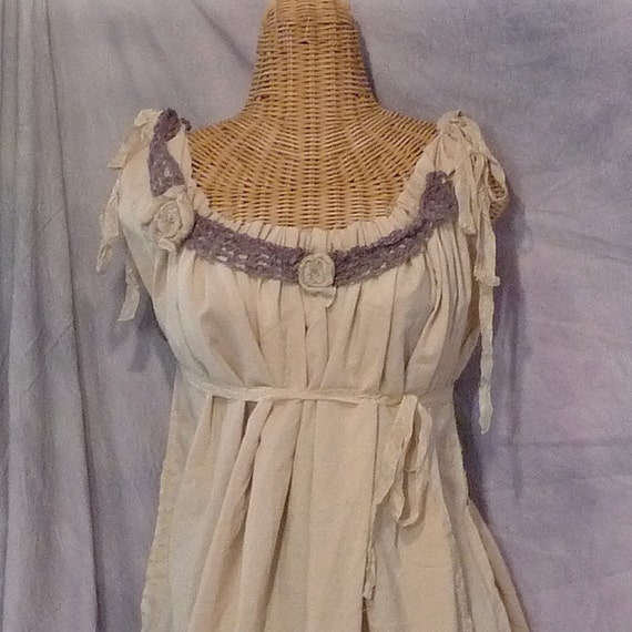 Hammock Dreaming Blouse Size XL 40 to 42 Bust Crochet Tattered Tea Dyed Juniors Womens