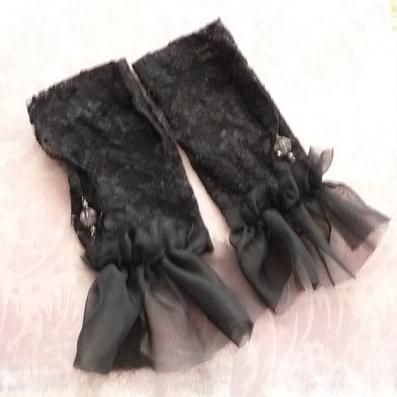 Crystal Ball Gloves Fingerless Halloween Fortune Teller Black Chffon Gothic Ruffled Stretch Teens, Juniors, Womens Fashion Arm Warmers