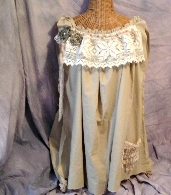 RESERVED Steampunk Dress Size M L Rag Doll Doily Eco Tea Dyed Holiday