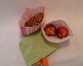 Free Shipping - Weekend Deals-Set of 3 Snack Sak - Reusable, Stylish, Eco-Conscious, pink, green, Polka Dots