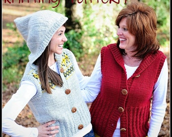 make your own Mary Swanson Cardi-Vest Sweater (DIGITAL KNITTING PATTERN) Hood and Shawl Collar Option