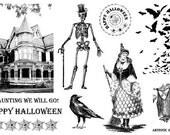 Victorian Illustration Halloween Art Rubber Stamps - vintage theme