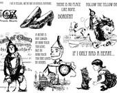 Vintage Wizard of Oz Rubber Stamps - Tin Man Scarecrow Dorothy