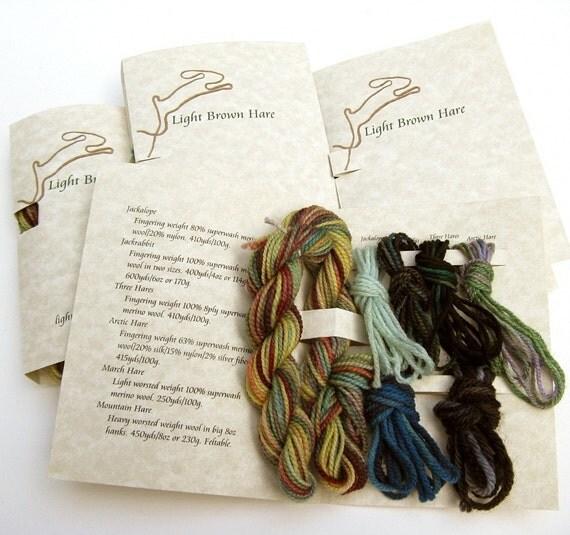 yarn sample booklet  - Light Brown Hare sampler