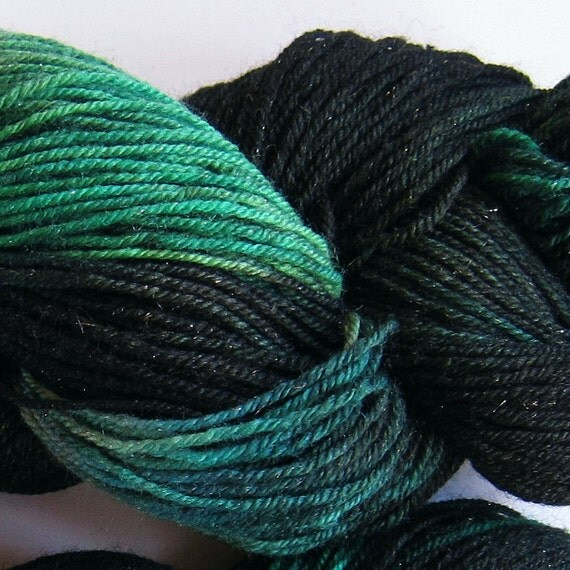 Arctic Hare hand dyed sock yarn fingering weight, 3ply superwash with sparkle, 100g: Taiga 1